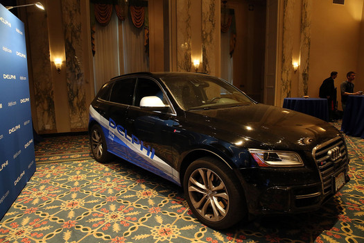The driverless specially outfitted Audi Q5 sport-utility vehicle is displayed at the Waldorf Astoria following the car's return from a cross country trip, a first for a driverless vehicle, on April 2, 201 (Photo by Spencer Platt/Getty Images)
