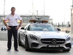 FIA Safety Car Driver, Bernd Maylander in Yas Marina Circuit pit lane 2016. (Yas Marina)