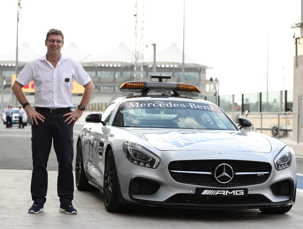 FIA Safety Car Driver, Bernd Maylander in Yas Marina Circuit pit lane 2016. (Yas Marina)