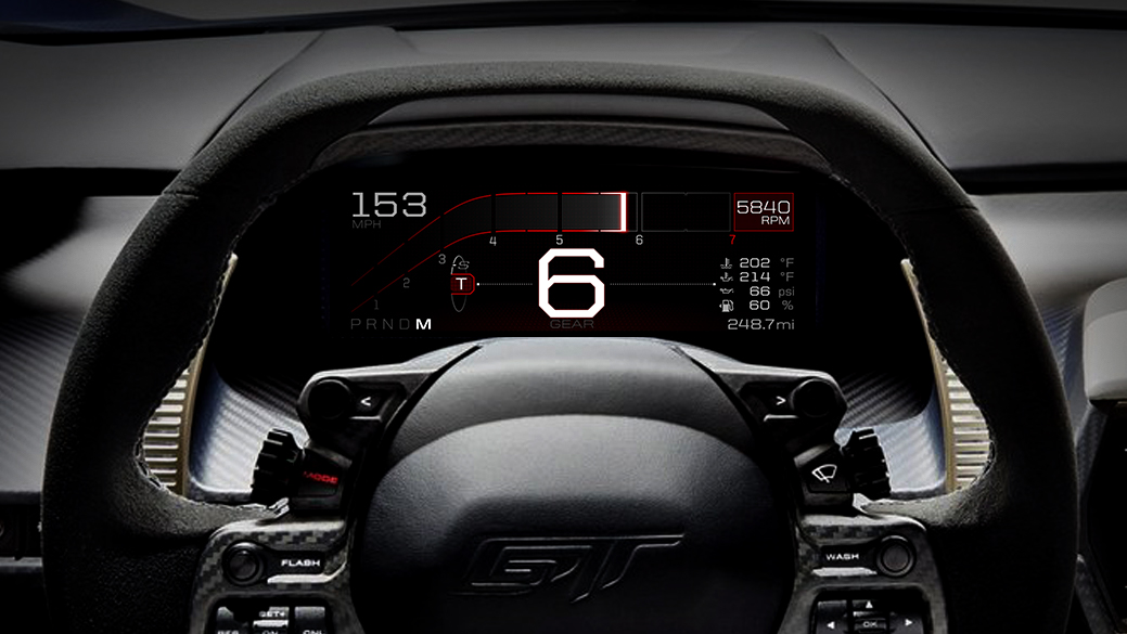 Like the glass cockpit in airplanes and race cars, the all-new Ford GT features an all-digital instrument display in the car's dashboard that quickly and easily presents information to the driver, based on five special driving modes. (Ford)
