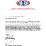 Notification letter for 2018 Dodge Challenger SRT Demon from Nat